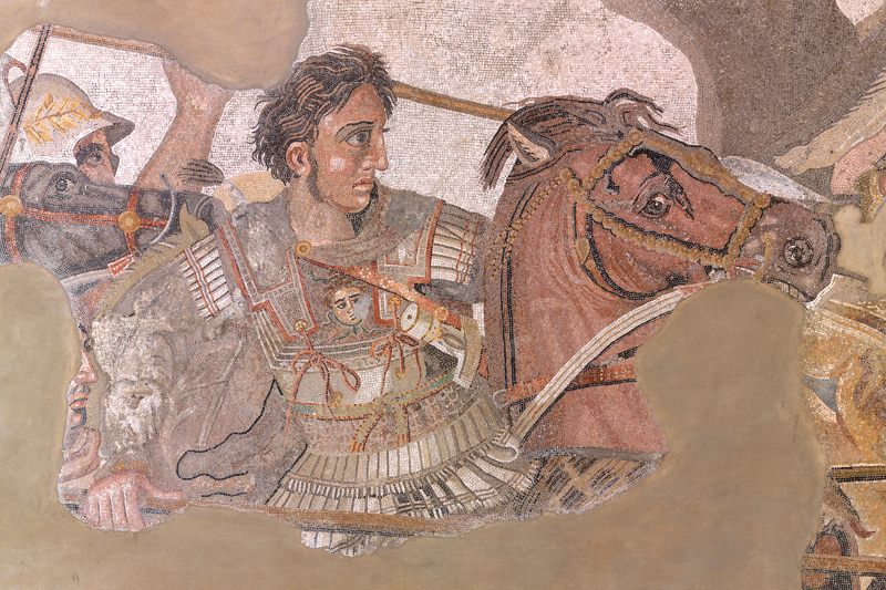 Mosaic depicting the Battle of Issus between Alexander the Great and the persian emperor Darius.